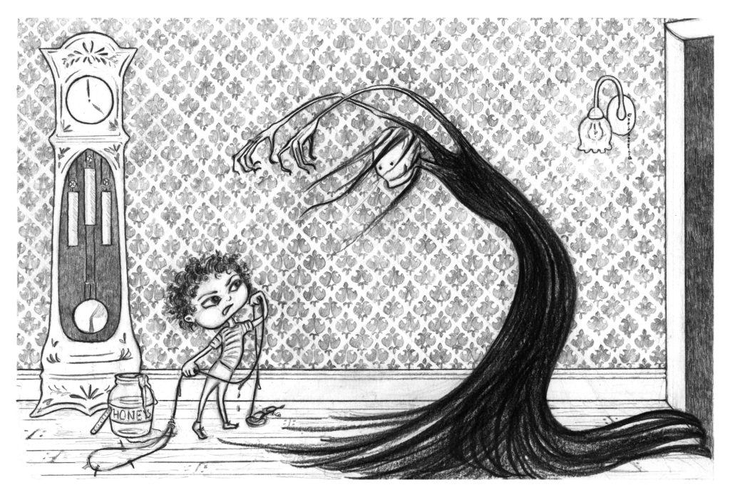 "Illustrations for TJ Brown's ""The Witch in Wendy's Basement"" 2014"